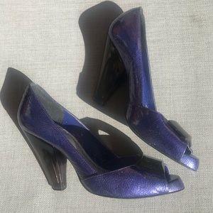 BCBGirls blue heels chunky opaque heels 8.5